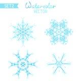 Sistema del vector de copos de nieve de la acuarela stock de ilustración