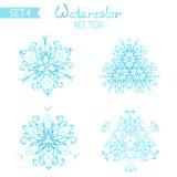 Sistema del vector de copos de nieve del watercolour ilustración del vector