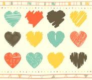 Sistema del vector de corazones de la tarjeta del día de San Valentín del garabato Foto de archivo libre de regalías