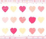 Sistema del vector de corazones de la tarjeta del día de San Valentín del garabato Imagen de archivo