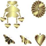 Sistema del vector de corazones del oro Imagen de archivo