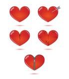 Sistema del vector de corazones en el fondo blanco stock de ilustración