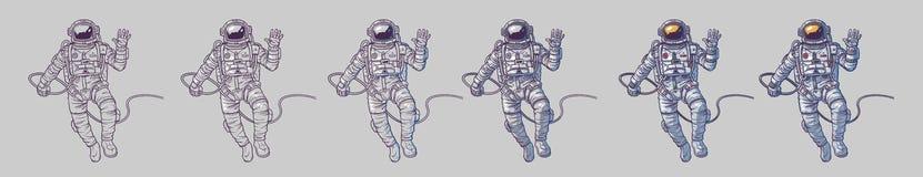 Sistema del vector de cosmonautas de los ejemplos Fotografía de archivo libre de regalías