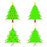 Sistema del vector de cuatro árboles de navidad Imagen de archivo