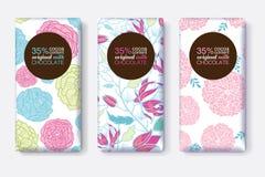 Sistema del vector de diseños de paquete de la barra de chocolate con los estampados de flores en colores pastel azules rosados M ilustración del vector