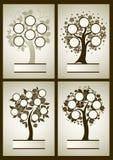 Sistema del vector de diseños del árbol de familia Fotos de archivo libres de regalías
