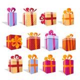 Sistema del vector de diversas cajas de regalo coloridas de la perspectiva Actual caja hermosa con el arco de forma aplastante Re libre illustration