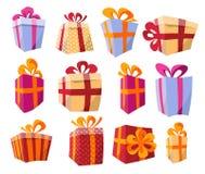 Sistema del vector de diversas cajas de regalo curvadas coloridas de la perspectiva Actual caja hermosa con el arco de forma apla stock de ilustración