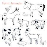 Sistema del vector de diversos animales del campo Imagen de archivo libre de regalías