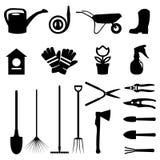 Sistema del vector de diversos artículos y utensilios de jardinería que cultivan un huerto en diseño plano Imagen de archivo