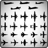 Sistema del vector de diversos iconos del aeroplano Foto de archivo libre de regalías