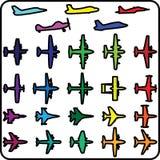 Sistema del vector de diversos iconos del aeroplano Fotos de archivo