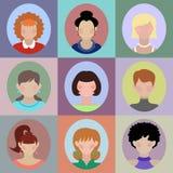 Sistema del vector de diversos iconos del app de las mujeres en estilo plano Imagen de archivo