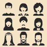 Sistema del vector de diversos iconos del hombre y de la mujer de la nacionalidad en estilo plano Imágenes de las caras o de las  stock de ilustración