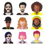 Sistema del vector de diversos subcultivos hombre y de los iconos del app de la mujer en estilo plano Goth, raper, hippy, inconfo Imágenes de archivo libres de regalías