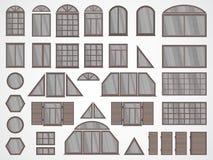 Sistema del vector de diversos ventanas y obturadores Fotos de archivo