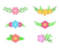 Sistema del vector de divisores florales del texto Flores y hojas Diseño del ramo para casarse invitaciones o tarjetas de felicit Imagen de archivo