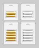 Sistema del vector de dos y cuatro pilas AA de plata blancas de Gray Golden Yellow Glossy Alkaline en la ampolla blanca para cali Imágenes de archivo libres de regalías