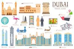 Sistema del vector de Dubai Fondo del concepto de la invitación del viaje Página moderna de los ejemplos de la arquitectura de la ilustración del vector