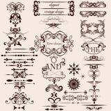 Sistema del vector de elementos caligráficos del vintage decorativo Imagen de archivo libre de regalías