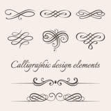 Sistema del vector de elementos caligráficos y de la página de la decoración del diseño Fotografía de archivo libre de regalías