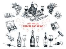 Sistema del vector de elementos de la vid y del queso Foto de archivo libre de regalías