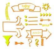 Sistema del vector de elementos de volumen dibujados mano: flechas, banderas, listas, palabras Imagenes de archivo