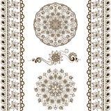 Sistema del vector de elementos decorativos dibujados mano en estilo indio étnico Colección de cepillos del modelo dentro stock de ilustración