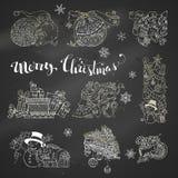 Sistema del vector de elementos del diseño de la Navidad de la tiza en fondo de la pizarra Fotografía de archivo
