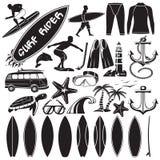 Sistema del vector de elementos del diseño que practican surf Foto de archivo libre de regalías