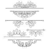 Sistema del vector de elementos del diseño y de decoraciones caligráficos de la página Imagen de archivo