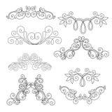 Sistema del vector de elementos del diseño y de decoraciones caligráficos de la página Fotografía de archivo libre de regalías