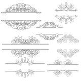 Sistema del vector de elementos del diseño y de decoraciones caligráficos de la página Fotos de archivo libres de regalías