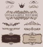 Sistema del vector de elementos del diseño y de divisores caligráficos de la decoración de la página Fotos de archivo libres de regalías