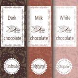 Sistema del vector de elementos del diseño y modelo inconsútil para el empaquetado del chocolate y del cacao - etiquetas y fondo Fotografía de archivo