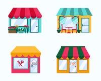 Sistema del vector de elementos exteriores de la ciudad de la tienda de los edificios Fotografía de archivo