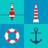 Sistema del vector de elementos náuticos y marinos con la boya del mar, el faro, el anillo de vida y el ancla Fotografía de archivo