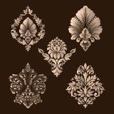 Sistema del vector de elementos del Ornamental del damasco Elementos abstractos florales elegantes para el diseño Perfeccione par libre illustration
