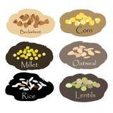 Sistema del vector de emblemas del cereal y del grano Para las avenas mondadas que embalan, impresiones del tarro de la cocina, h Fotografía de archivo