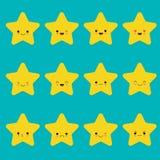 Sistema del vector de emoticons de la estrella Colecci?n de estrellas amarillas con diversas emociones en estilo de la historieta ilustración del vector