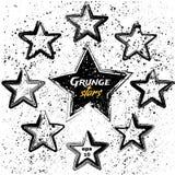 Sistema del vector de estrellas negras del grunge stock de ilustración