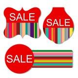 Sistema del vector de etiquetas coloridas de la venta Imagen de archivo