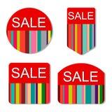 Sistema del vector de etiquetas coloridas de la venta Imágenes de archivo libres de regalías