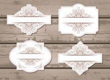 Sistema del vector de etiquetas con los elementos decorativos Imagen de archivo