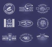 Sistema del vector de etiquetas de los mariscos del estilo Fotos de archivo