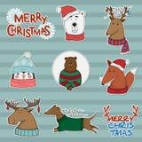 Sistema del vector de etiquetas engomadas de la Navidad con los animales Imagen de archivo libre de regalías