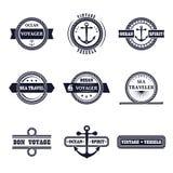 Sistema del vector de etiquetas marinas del estilo Fotos de archivo
