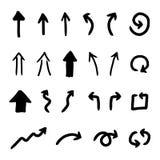 Sistema del vector de flechas dibujadas mano Foto de archivo libre de regalías