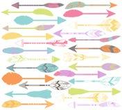 Sistema del vector de flechas estilizadas o abstractas de la pluma Fotografía de archivo libre de regalías