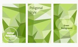 Sistema del vector de folletos y de aviadores en estilo poligonal Foto de archivo libre de regalías